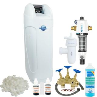 Wasserenthärtungsanlage Entkalkungsanlage MKC60 TOP-Line inkl. Anschlussarmatur - RDX Rückspülfilter - LC Flexschläuche - Harzreiniger - Wasserhärtemessbesteck - 4 x 25 kg Salz