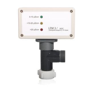 """Leitfähigkeitsmessgerät 3 Dioden Überwachung auf T-Stück montiert in ÜM3/4"""" x AG3/4"""" im Winkeldurchgang (batteriebetrieben)"""