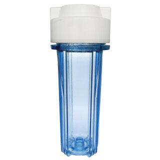 Osmoseanlage Wasserfilter Filtersystem Filtergehäuse 10 Zoll 1/4 IG Filterglocke transparent von Aquintos
