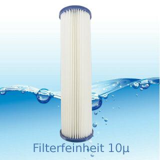 Aquintos Lamellenfilter Faltenfilter 10 x 2,5 Zoll 10 Micron aus Cellulose
