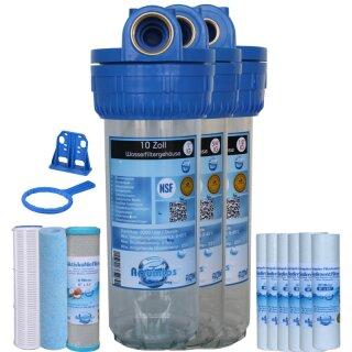 Wasserfilter Wasserfiltergehäuse 10 Zoll - 1 Zoll IG (3-teilig)