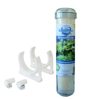 Aquintos Nitrat Nitrit Inline Wasserfilter NT1025 Nachfilter für Osmoseanlagen und zur Montage in den Filterkreislauf in Süßwasseraquarium  inkl. Anschlussset und Befestigungsclips