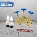Montageset Anschlussset 11 für Wasserenthärtungsanlagen Anschluss-Armartur Bypassventil 2 x HDPE Edelstahl-Flexschlauch 100cm 1 1/4 Zoll + Titrierlösung