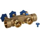 Montageset Anschlussset 14 für Wasserenthärtungsanlagen Anschluss-Armartur Bypassventil 2 x HDPE Edelstahl-Flexschlauch 150cm mit 90° Bogen 1 1/4 Zoll + Titrierlösung
