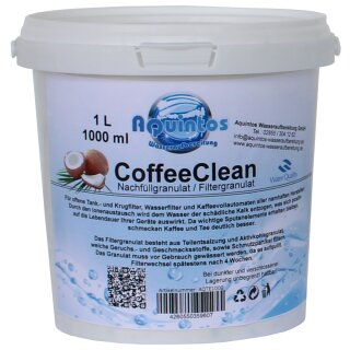 Aquintos CoffeeClean Nachfüllgranulat Filtergranulat für Wasserfilter Kaffeevollautomaten Tischwasserfilter Filterpatronen Aquintos-Water-Technologie 10 Jahre AQTE1000 der lang bewährte Standard unter den Granulaten