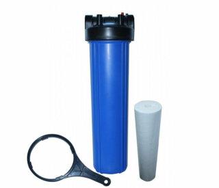 Big Blue Filtergehäuse Trinkwasserfilter 20 x 4,5 Zoll mit 1 1/2 Zoll IG -  DN25 und 2 O-Ringe + Sedimentfilter 20µ und Filterschlüssel