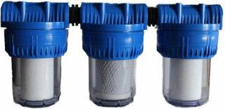 """10 Zoll TRIO Filtergruppe Filtergehäuse mit 1""""IG Hauswasserfilter Wasserfilter"""
