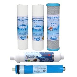 5-stufige Umkehrosmoseanlage Osmoseanlage Osmosefilter Wasserfilter 1 Filtersatz
