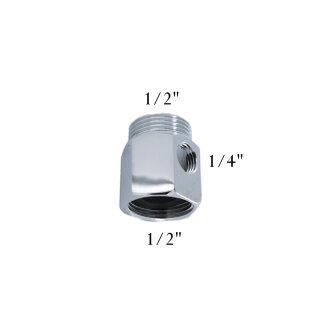"""Aquintos Anschluss T-Stück Adapter AG1/2"""" x IG1/2"""" mit seitlichem Innengewinde in IG1/4"""""""